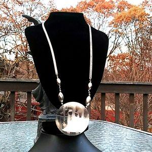 Unique VINTAGE SilverTone Large Medallion Necklace